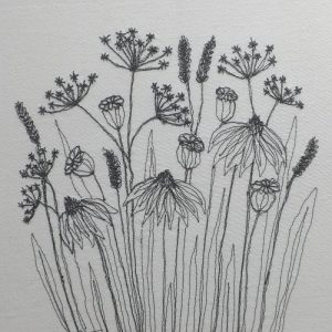 Meadow seed heads free machine embroidery