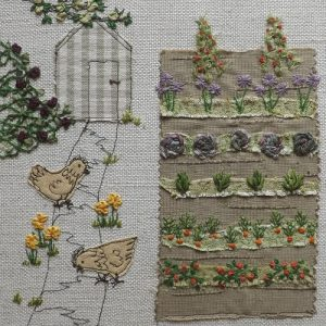 Embroidered allotment landscape with shed, tree branch, two hens and neat straight rows of vegetables in rectangular bed.