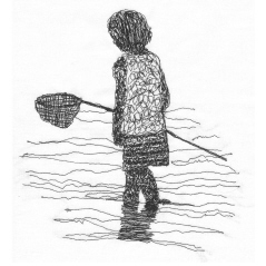 Embroidered paddling child in black thread on white background. Child is holding a small fishing/crabbing net and is casting small shadow on the rippling water.