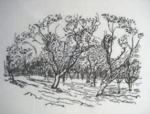 Embroidered summer apple orchard on white linen fabric with dark thread