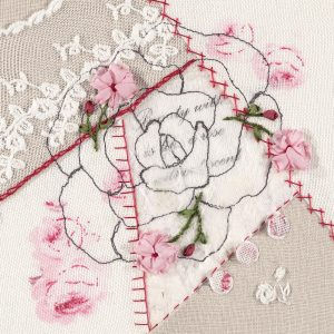 Embroidered detailed roses on a larger cartoon style stitched rose image.